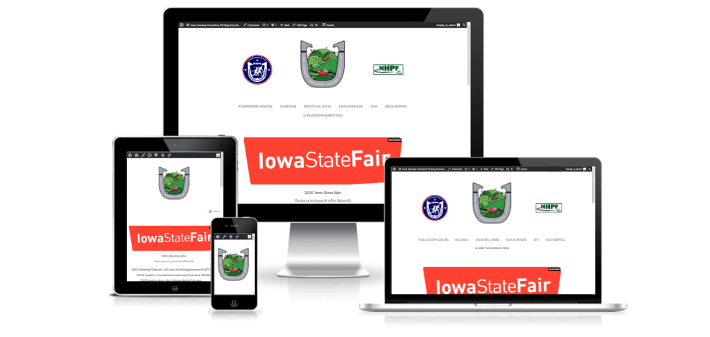 The Iowa Hawkeye Horseshoe Pitchers Association website on multiple screen sizes