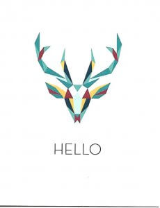 Card featuring colorful low-poly art of a deer mount