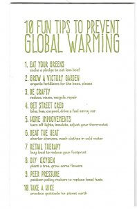 Greeting card with copy about global warming